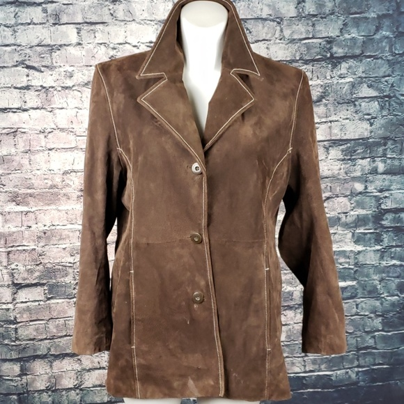 Wilsons Leather Jackets & Blazers - Wilson Leather Chestnut Brown Suede Coat XL